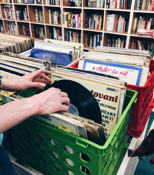 The Bearden Goodwill devotes a lot of floor space to media, including books, movies, CDs, board games, and vinyls.